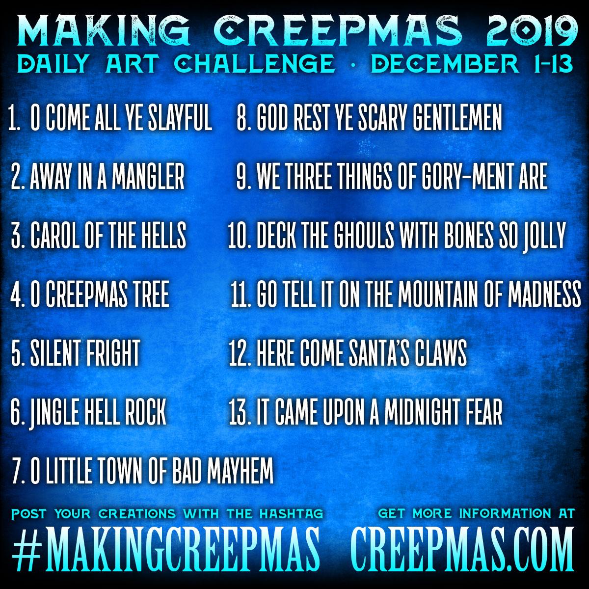 Making Creepmas 2017 Prompt List