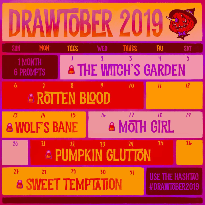 Drawing Challenge For Halloween 2020 Get Ready for October Drawing Challenges! #Inktober #Drawlloween